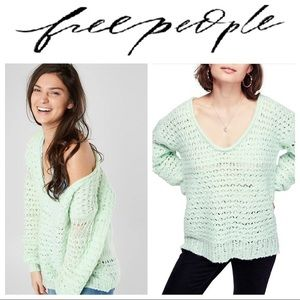 Free People Crashing Waves Sweater in Mint